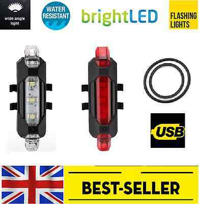 front rear 5 led USB rechargeable bike lights - small red white light waterproof