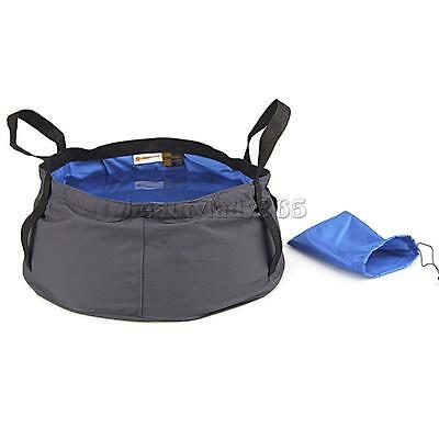 8.5L Outdoor Camping Folding Wash basin Bucket Travel Bag Pouch Royal Blue