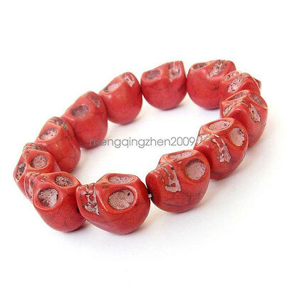 17mm*14mm Red Howlite Turquoise Skull Mala Bracelet Tibet Buddhist Prayer Beads