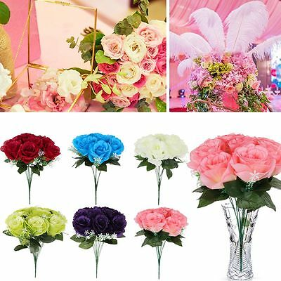 10Head Real Latex Touch Rose Flowers For wedding Party Home Design Bouquet Decor