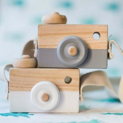 Kids Cute Wood Camera Hanging Toy Children Room Decor Safe Wooden Camera Gifts