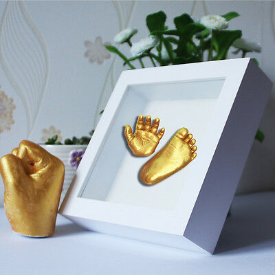 1Set Baby Hand Mold Powder Hand Foot Molding Cloning Powder Gold Paint Brush Top