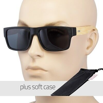 DARK BAMBOO WOOD GLASSES SUNGLASSES POLARIZED SMOKE UV400 Black POUCH