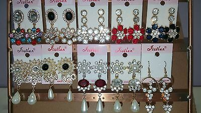 Joblot of 12 Pairs Mixed Design Sparkly Diamante Dangly Earrings-NEW Wholesale A