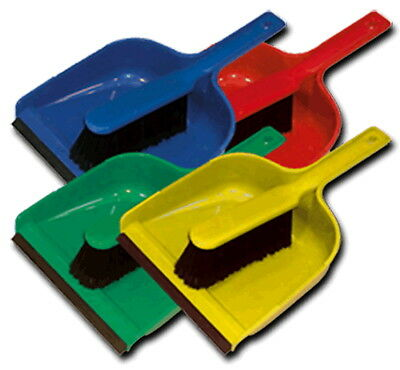 Colour Coded Hygiene Hand Dust Pan & SOFT Brush Set with Rubber Strip Cleaning