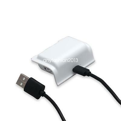 White Rechargeable Battery Power Pack + USB Cable for Xbox One Slim Controller