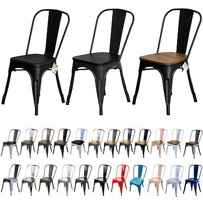 Tolix Style Vintage Metal Chairs French Inspired Design Classic Kitchen Seating
