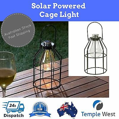 4 x Solar Light Metal Industrial Style Cage Outdoor Hanging Rounded Lantern 24cm