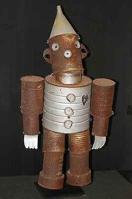 TIN MAN SCULPTURE old vintage robot figure hand made Wizard of Oz cans heart