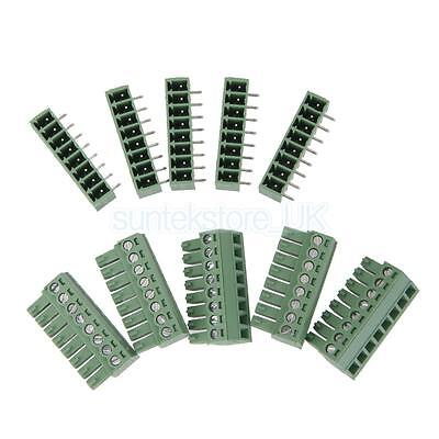 5 Pair Pluggable 8 Way 3.81mm PCB Screw Terminal Connector with Socket