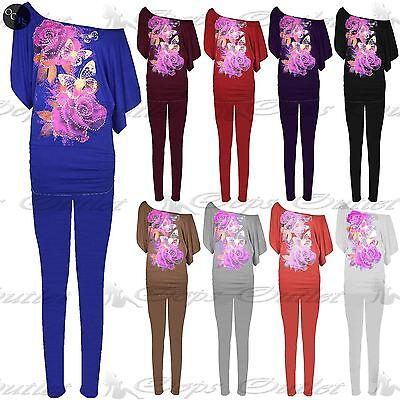 Womens Ladies Off Shoulder Rose Butterflies Stud Bardot Ruched Top Tracksuit
