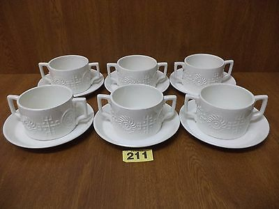 Portmeirion TOTEM White - 6 Twin Handle Soup Coups / Bowls & Saucers