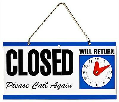 Double_Sided Plastic Open And Closed Sign With Return Time Clock