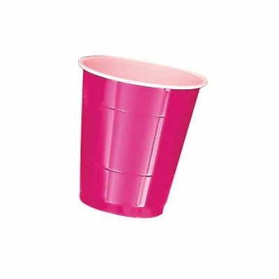 20 Hot Pink Magenta Plastic Cup 355ml Colour Birthday Party Wedding Tableware