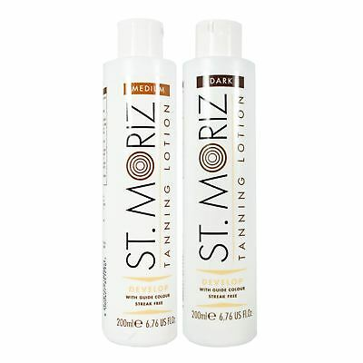 St. Moriz Medium & Dark Self Tanning Lotion Instant Streak Free Fake Tan 200ml