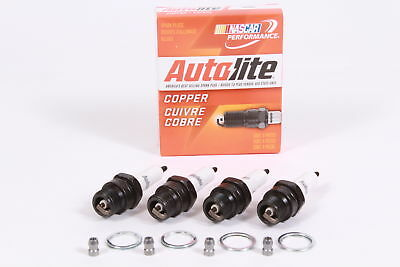 Box of 4 Genuine Autolite 386 Copper Resistor Spark Plugs