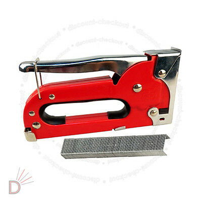 Heavy Duty Metal Staple Red Gun Easy Squeeze Upholstery Tacker UKDC