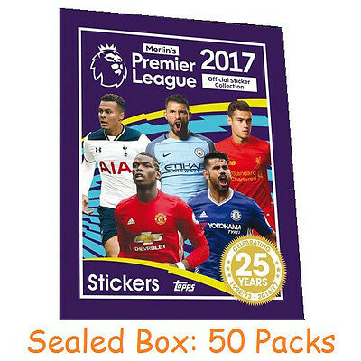 Topps Merlin's Premier League Football Stickers 2017 - Sealed Box of 50 Packs