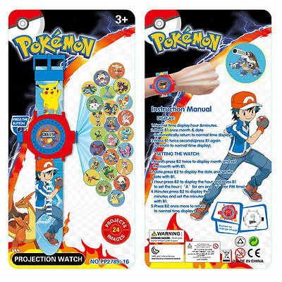 Kids Boy Girl Toy Cute Pokemon Pikachu Monster Figures 24 Projection Wrist Watch
