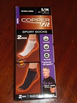 Copper Fit - Sport Socks For Men & Women Small/medium - 2 Pk - 1 Black/ 1 White