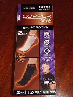 Copper Fit - Sport Socks For Men & Women, Large - 2 Pk - 1 Black/ 1 White (Sk-9)