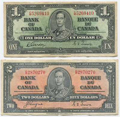 Lot of 2: 1937 Canadian Notes, $1 and $2. XF Grade