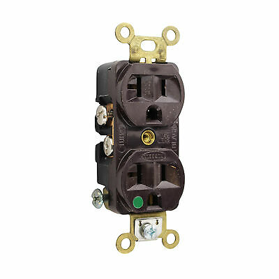 Hubbell Hbl8300H Compact Duplex Receptacle Hospital Grade, 20A, 125V 5-20R Brown