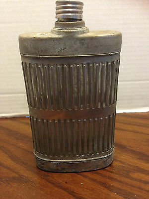 Vintage Silverplate Flask Glass Bottle Marked G.L.C.M