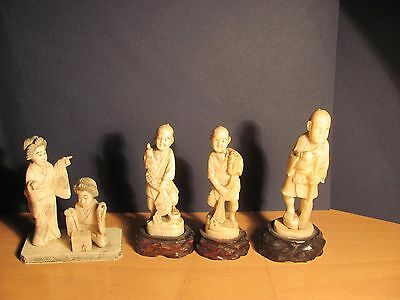 Beautiful lot of 4 ancient Japanese statuettes