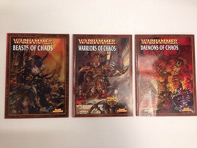 Lot Of 3 Warhammer Fantasy Warriors, Beasts, And Daemons Of Chaos Books  OOP#11
