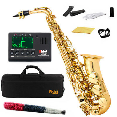 Aklot Gold Eb Beginner Alto Saxophone Sax Brass Body Chromatic Tuner and Case