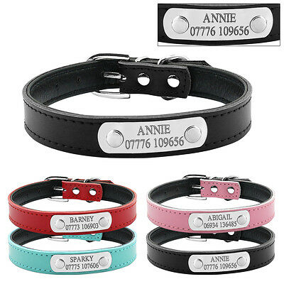 Personalized Leather Dog Collars Custom Dog Tags Engraved Cat Pet Name Free XS-M