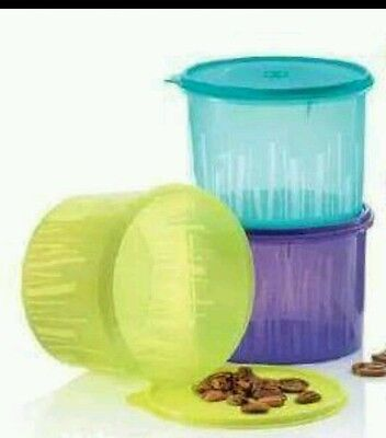 NEW Tupperware Textured Canister (2) 1.1L Purple & Green