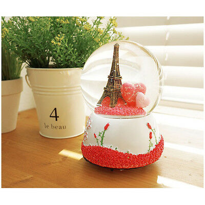 Lovely Paris Eiffel Tower Snowball Music Box Snow Globes  Perfect Novelty Decor