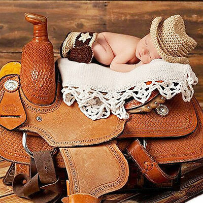Newborn Baby Photography Props Cowboy Crochet Costume Knitted Costume Hat+Shoes