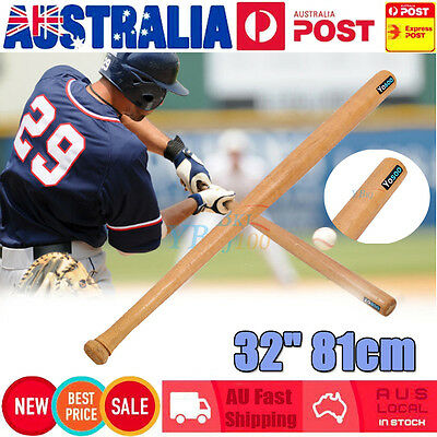 "32"" 81cm High Quality Outdoor Wood Baseball Bat Wooden Softball Bat Sports AU"