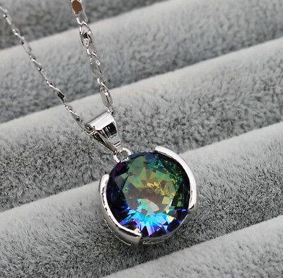 18K White Gold Filled - Round Mystical Topaz Party Pendant Women Chain Necklace