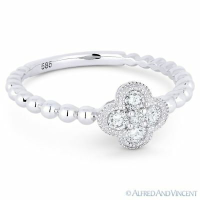 0.21ct Round Brilliant Cut Diamond Pave Flower Charm 14k White Gold 5-Stone Ring