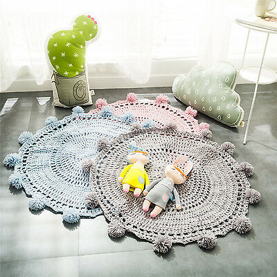 New 100% Handmade PomPom Acrylic Floor Rug Mat Home Decor Kids Children Rugs