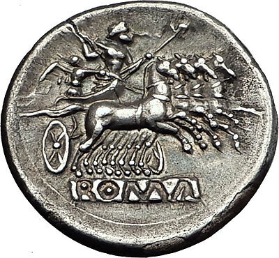Roman Republic QUADRIGATUS Anonymous Authentic Ancient Silver Coin JANUS i57942