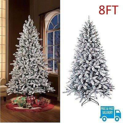 Flocked Christmas Pine Tree 2.4m Pre Lit Artificial Holiday White Snow 1200 Tips
