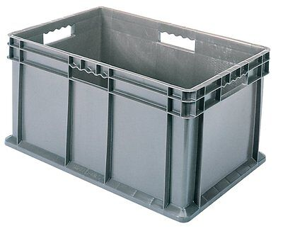 Akro-Mils 37288GREY 16-Inch by 12-Inch by 8-Inch Straight Wall Container Tote wi