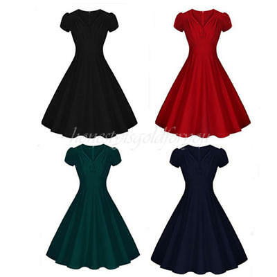 Retro VTG Women's V Neck 1950's Swing Pinup Party Cocktail Dress Rockabilly