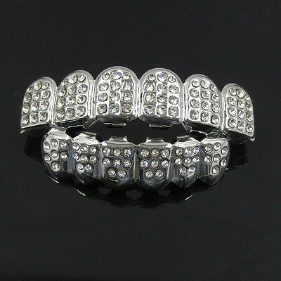 Luxury Bling Hip Hop Mouth Teeth Grills Grillz Set Top & Bottom Caps Tooth New
