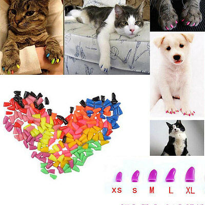 Simple Pet Dog Cat Kitten Paw Claw Control Nail Caps Cover Soft Rubber 20pcs