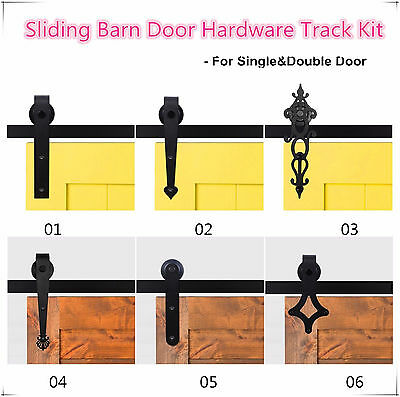 5FT-12FT Antique Sliding Barn Wood Door Hardware Closet Track Set Single/Double
