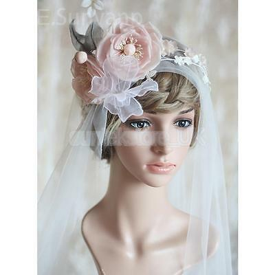 White Bridal Wedding Flower Butterfly Leaf Veil with Headband Elbow Length