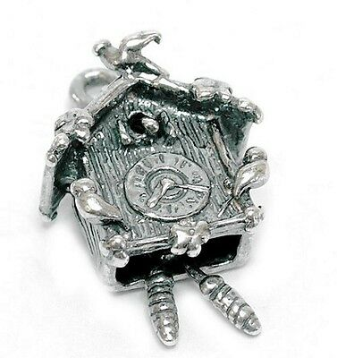 Vintage Silver Moving Cuckoo Clock Charm