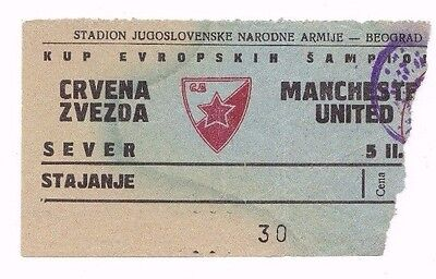 1958 EUROPEAN CUP RED STAR BELGRADE v MANCHESTER UNITED (*RARE ORIGINAL TICKET*)