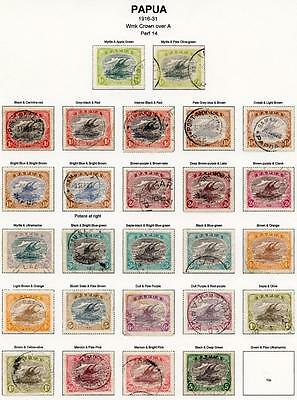 Papua 1916-31 to 5s inc ALL listed shades and 1½d Potace SG93/104 FU cat £331